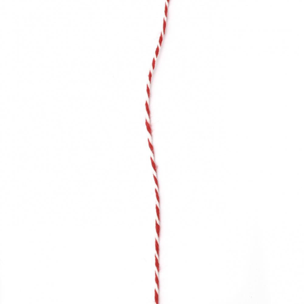 Шнур памук 2 мм пресусано бяло и червено 2x4 ката ~40 метра