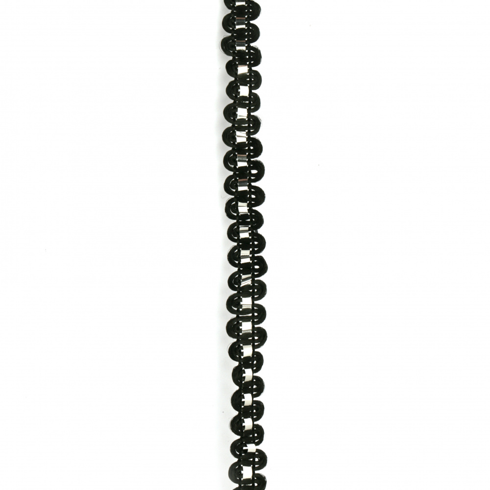 Ширит полиестер 7 мм с ламе черен ~24 метра