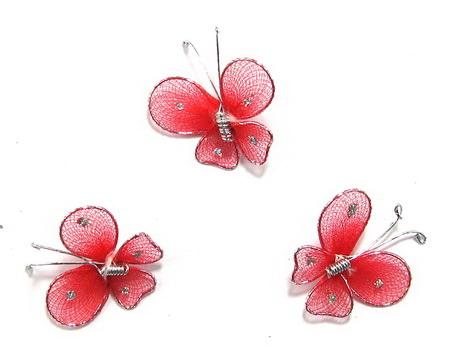Fluture 30 mm roșu cu brocat - 3 bucăți