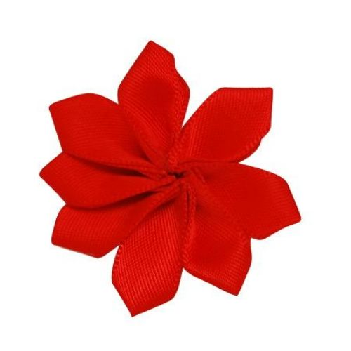 Fabric Flower 8 leaves 31x33x6 mm red -10 pieces