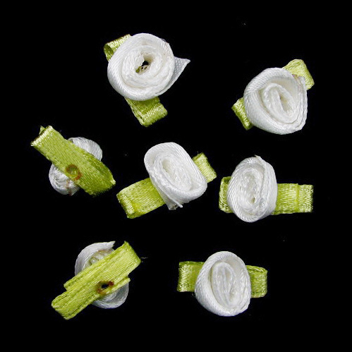 Artificial rose with a leaf, light green 8 mm white - 50 pieces