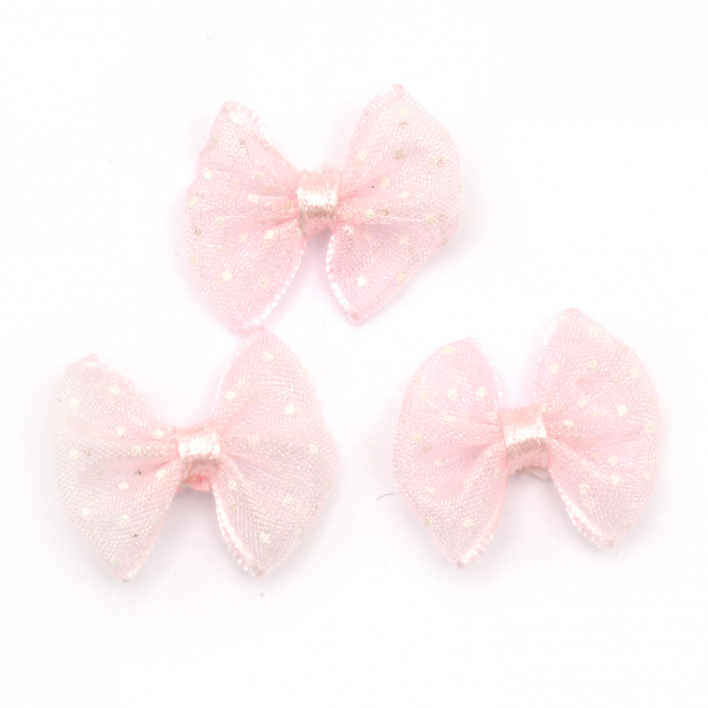 Ribbon 23x20 mm organza pink light with white dots -5 pieces