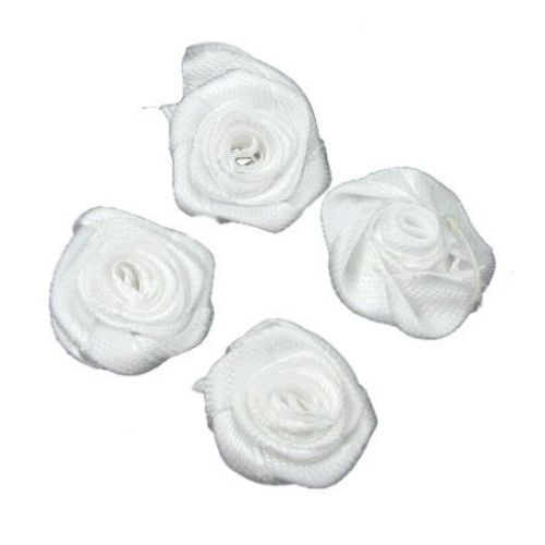 Rose for Decoration 25 mm white -10 pieces