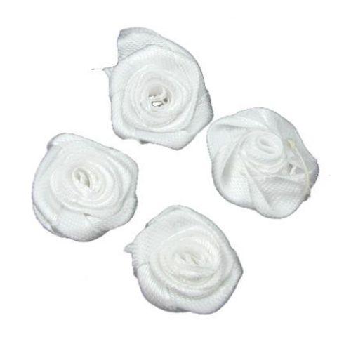Trandafir alb 25 mm -10 bucăți