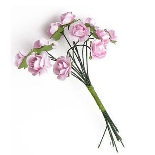 Bouquet of paper Roses with wire stems 15 mm purple pink - 12 pieces