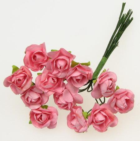 Buchet de trandafiri din hârtie și sârmă 15 mm roz 5 -12 bucăți