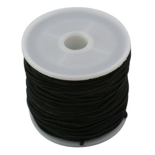 Elastic Cord, with Nylon Outside and Rubber Inside 1 mm black ~ 19 meters