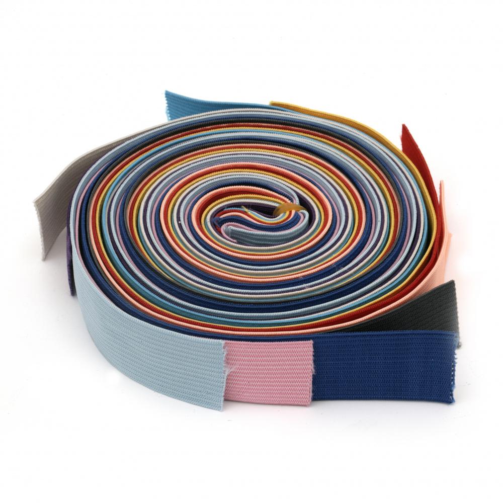 Κορδέλα ελαστική  25 mm ΜΙΞ 10 χρώματα x 0,9 ~ 1 μέτρο