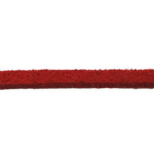 Genuine Suede Cord, Jewellery Suede Lace, Flat 2.5x1.5 mm red -5 meters