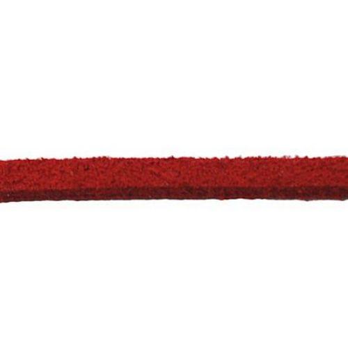 Banda de piele de căprioară naturală de 2,5x1,5 mm roșu -5 metri