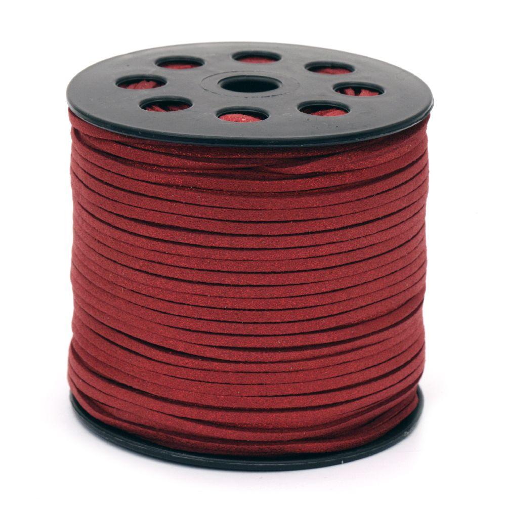 Лента велур естествен 2.7x1.4 мм цвят червен -5 метра