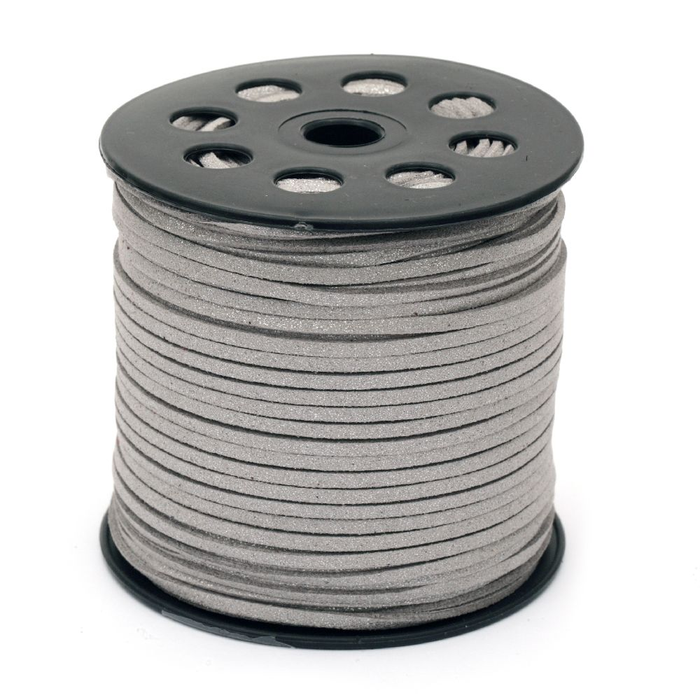 Natural Suede Cord,,2.7x1.4 mm silver -5 meters