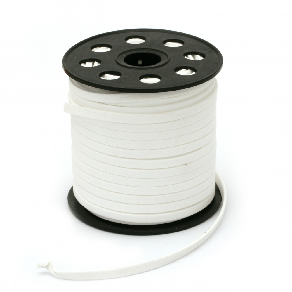 Natural Suede Cord5x1.5 mm color white -5 meters