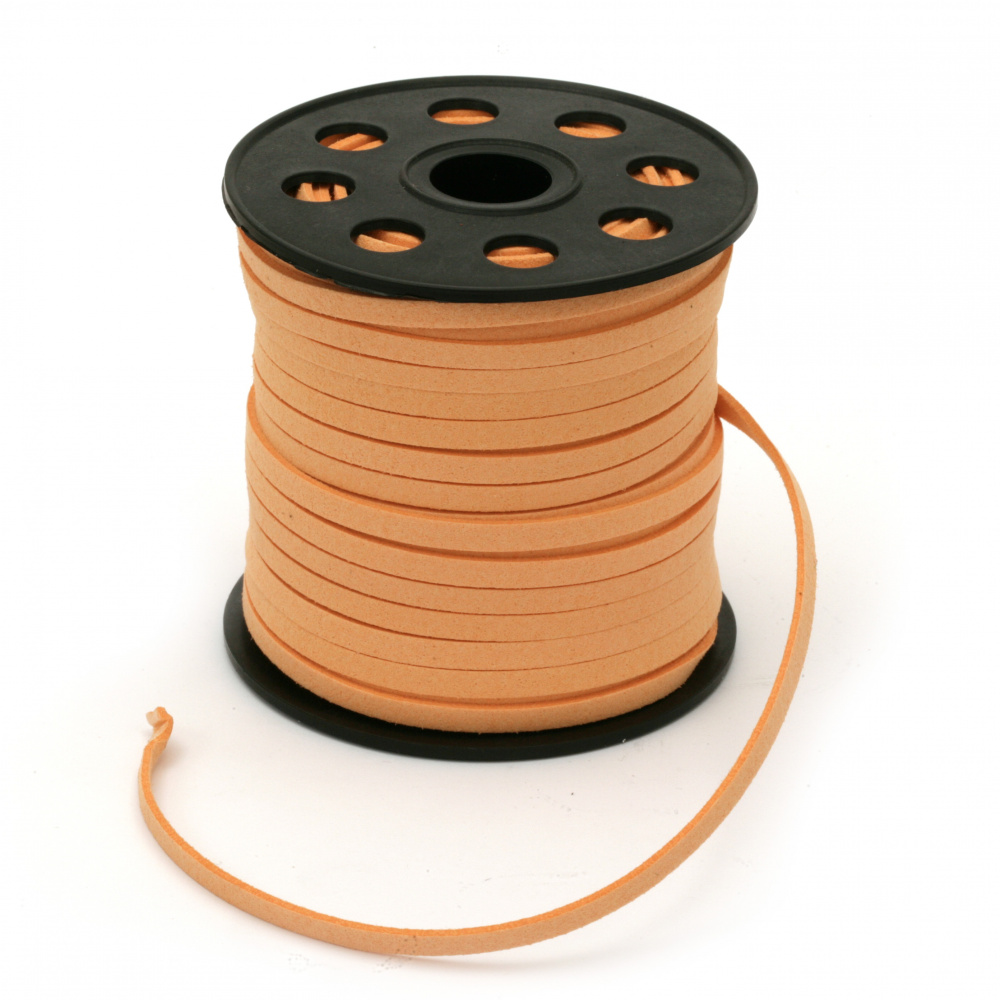 Natural Suede Cord5x1.5 mm peach color -5 meters