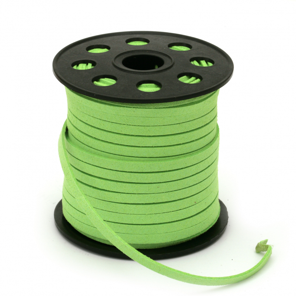 Natural Suede ribbon 5x1.5 mm color green light -5 meters