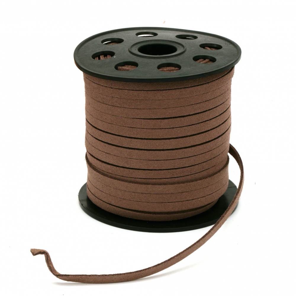 Natural Suede ribbon 5x1.5 mm chocolate color -5 meters