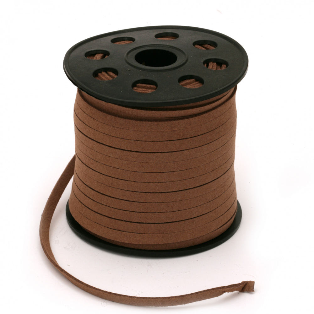 Natural Suede ribbon5x1.5 mm brown -5 meters