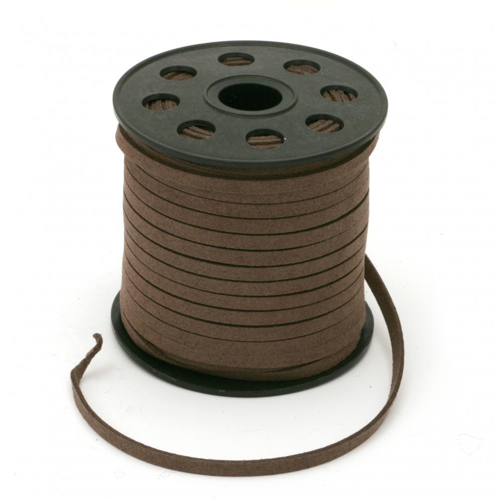 Σουέτ δερμάτινο κορδόνι 5x1,5 mm καφέ σκούρο -5 μέτρα