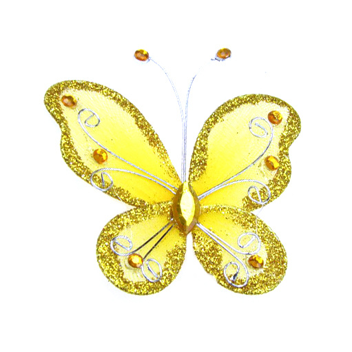 Organza Wire Butterfly with glitter For Home Decor, Party Accessories 70x60 mm yellow