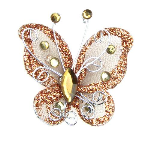Пеперуда 50 мм с брокат кафява