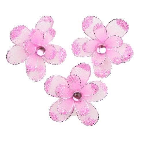 Floare dublă de 35 mm cu roz deschis  brocat