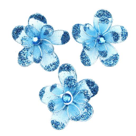 Organza wire flower with glitter 35mm blue