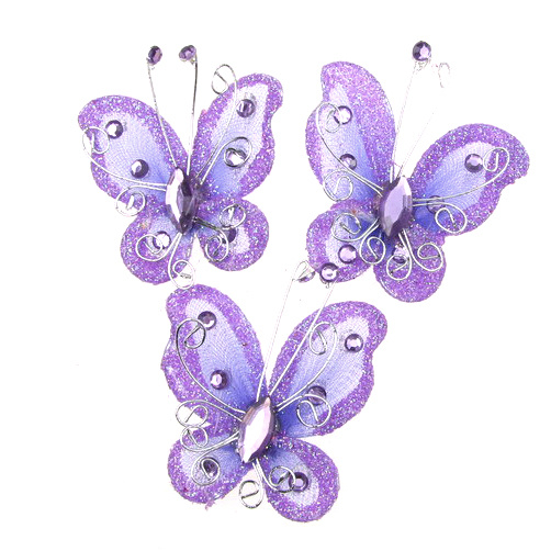 Organza and wire Butterfly with glitter for home decor, party accessories 50 mm purple
