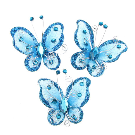 Organza and wire butterfly or embellishment of festive cards, frames, albums, blue with glitter, 50 mm
