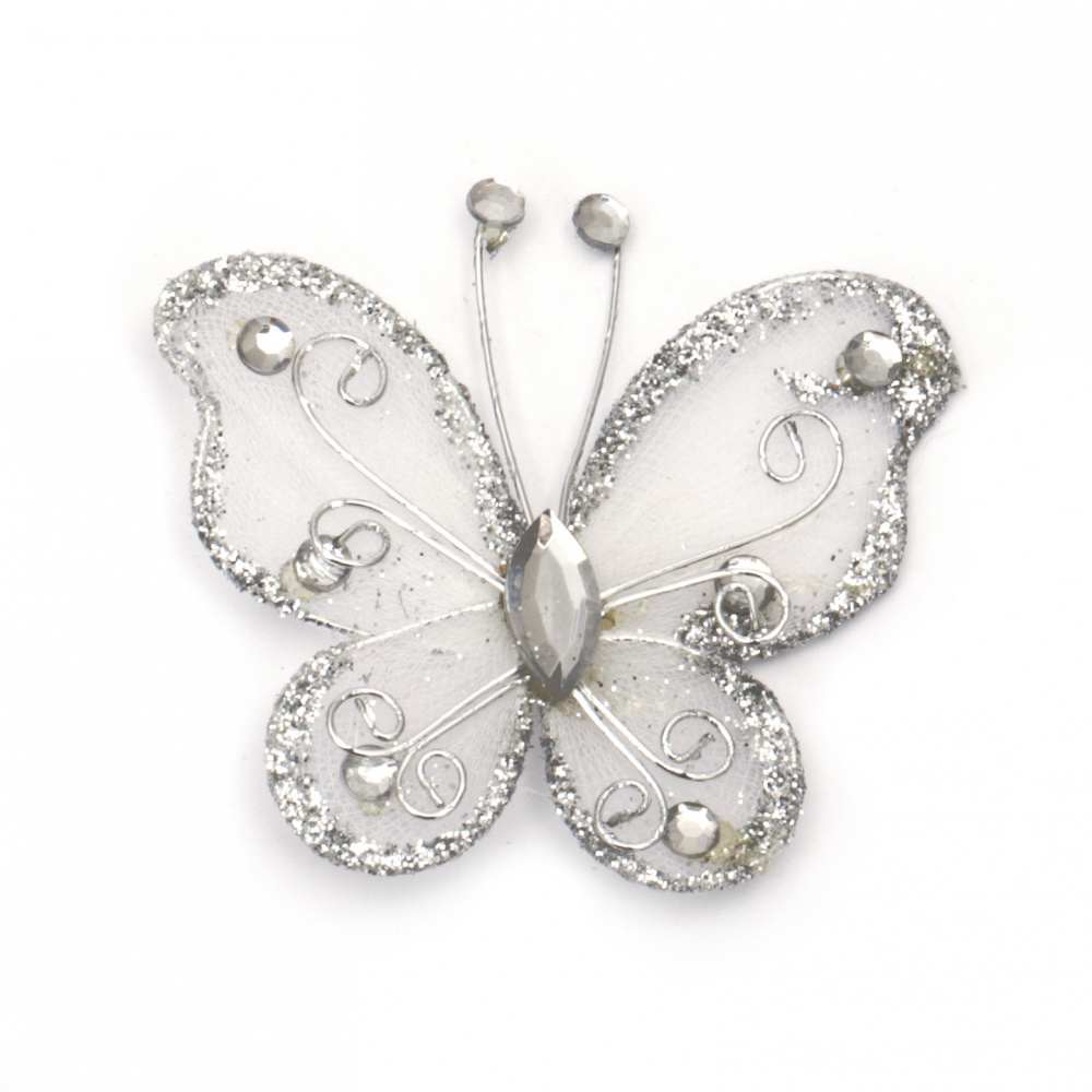 Organza and wire butterfly, silver with glitter, 50 mm