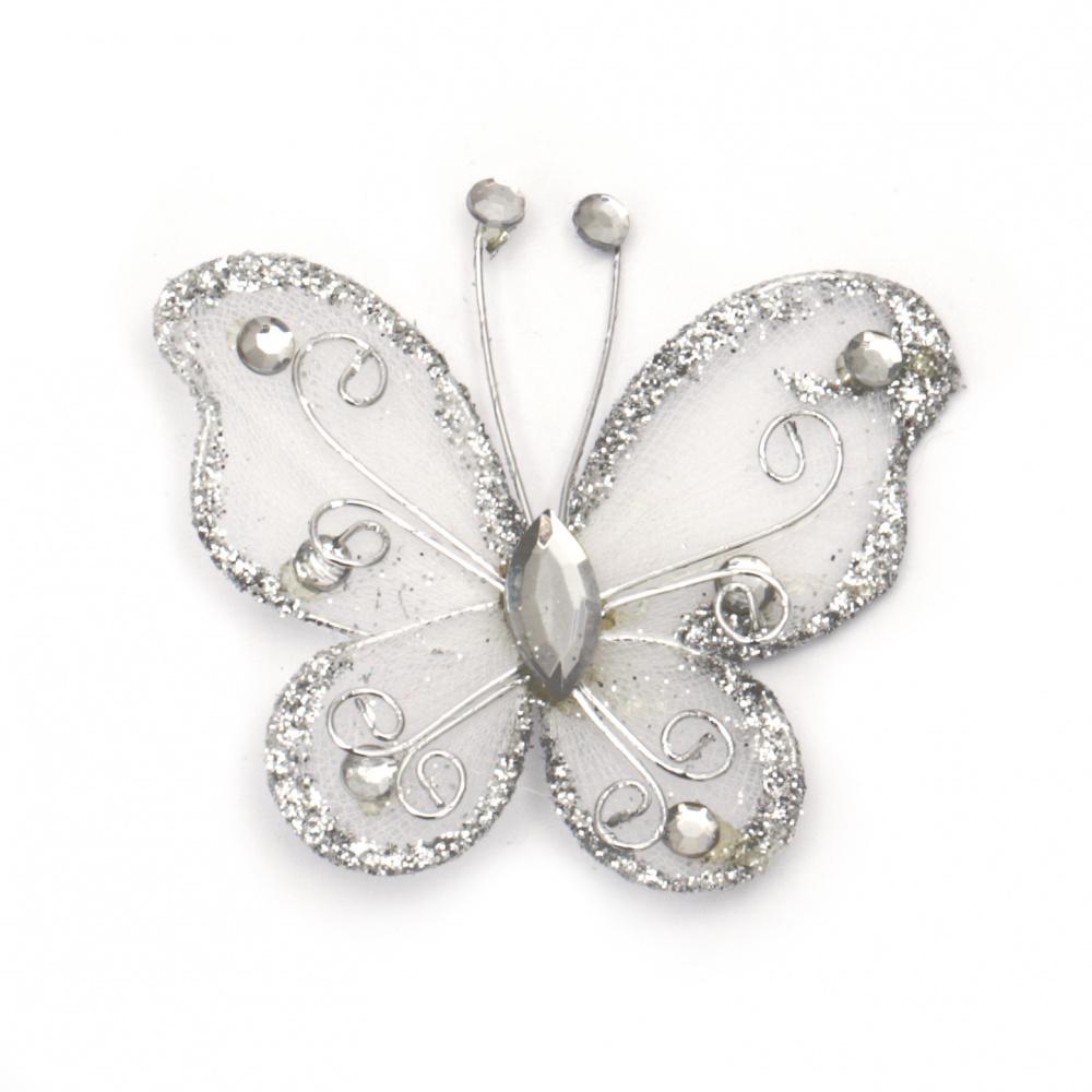 Fluture de 50 mm alb cu brocart argintiu