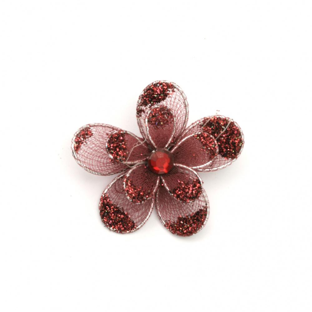 Organza Wire Flower, Red Glitter ,35mm