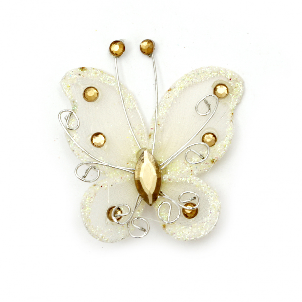 Organza wire butterfly, cream color with glitter, 50 mm