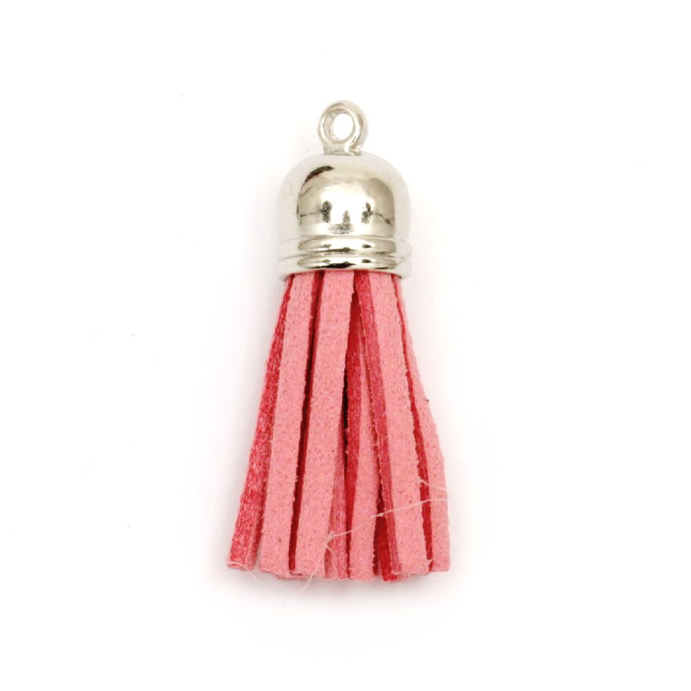 Pendant suede tassel 10x37 mm hole 2 mm color pink -4 pieces