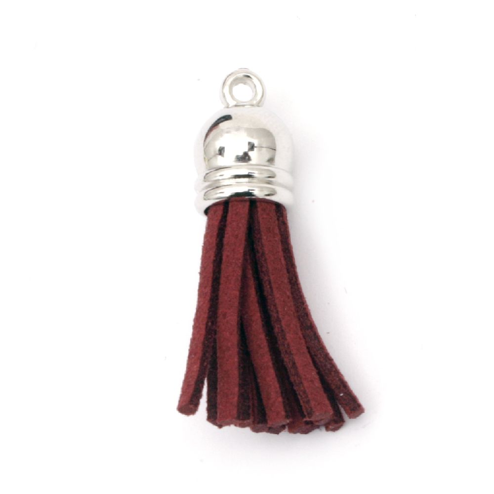 Pendant suede tassel 10x37 mm hole 2 mm burgundy -4 pieces
