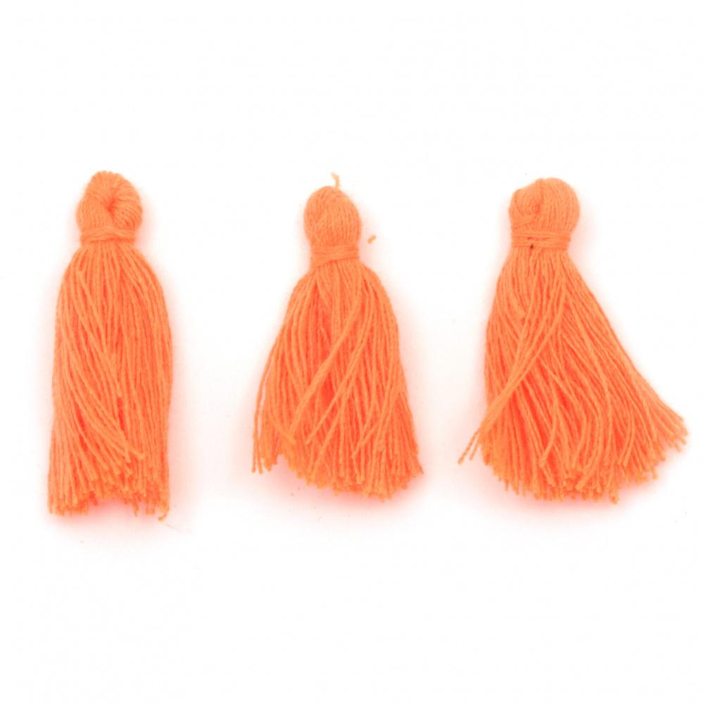 Φούντα βαμβακερή 30x15 mm πορτοκαλί ηλεκτρίκ -10 τεμάχια