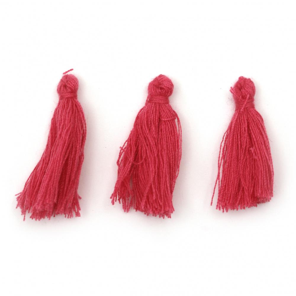 Tassel cotton 30x15 mm color deep pink -10 pieces