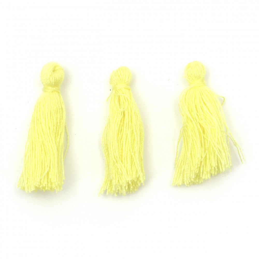 Tassel cotton 30x15 mm color yellow - 10 pieces
