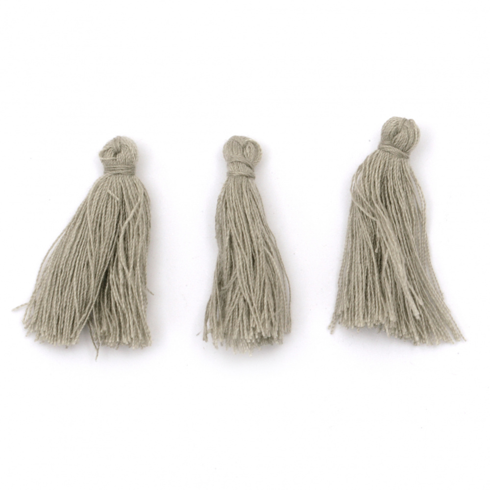 Tassel cotton 30x15 mm gray - 10 pieces