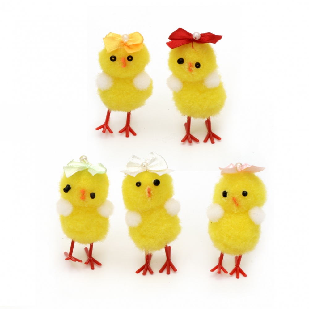 Easter Chicken with ribbon 50x25 mm for decoration