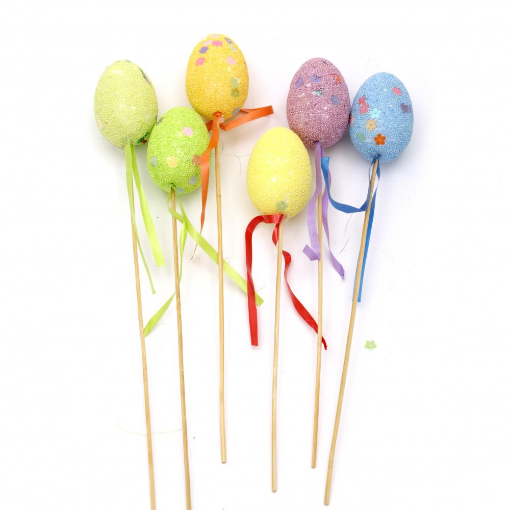 Easter Set of Styrofoam eggs 57x39 mm per stick 170 mm colors MIX -6 pieces