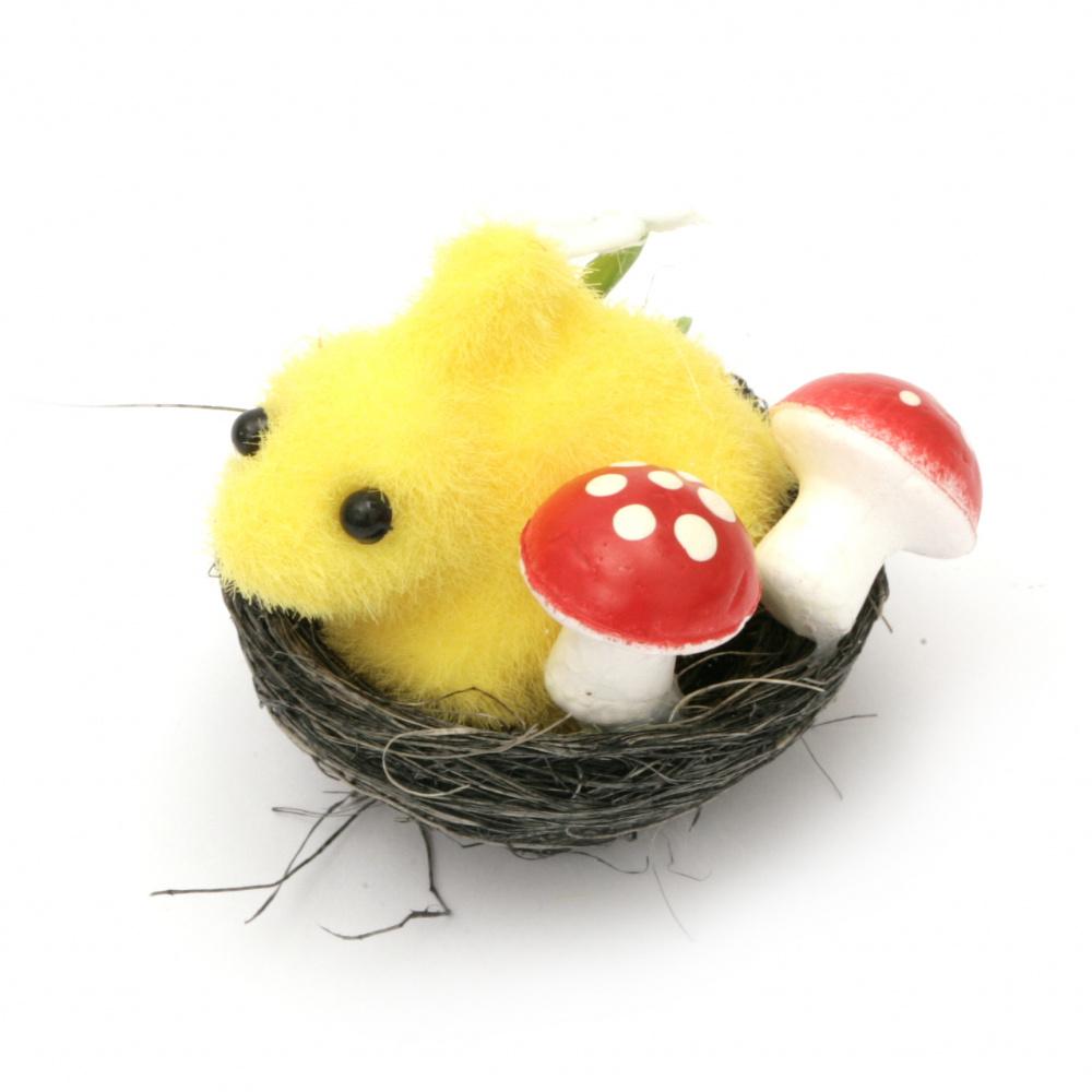 Заек в гнездо с гъби за декорация 44x50 мм -4 броя