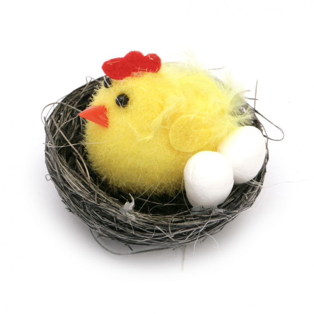 Chicken with chicken and eggs in a nest for decoration 35x50 mm -6 pieces