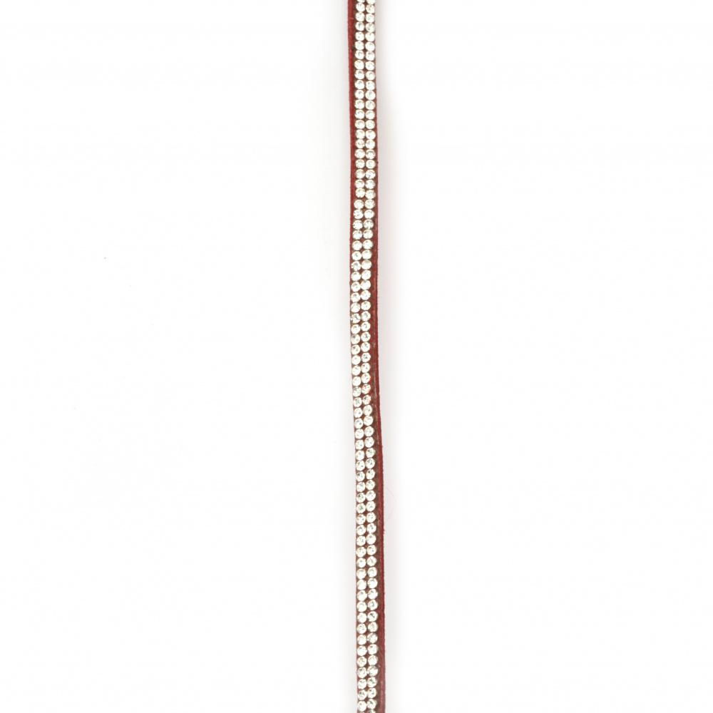 Συνθετικό σουέτ κορδόνι 5x3 mm με δύο σειρές στρας κόκκινο -1 μέτρο