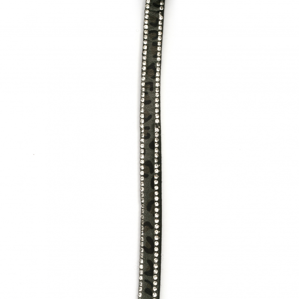 Suede ribbon 8.5x3 mm with two rows of leopard crystals right black -1 meter