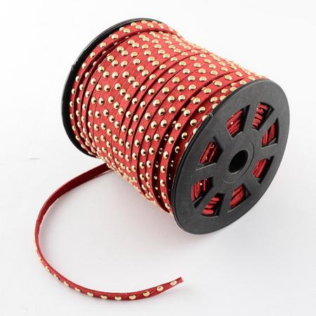 Συνθετικό σουέτ κορδόνι 6x2,5 mm κόκκινο με τρουκς -1 μέτρα