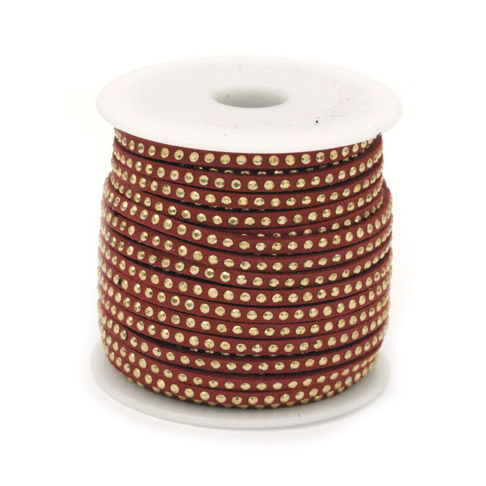 Σουέτ δερμάτινο κορδόνι 3x2 mm με διακοσμητικά, κόκκινο -1 μέτρο