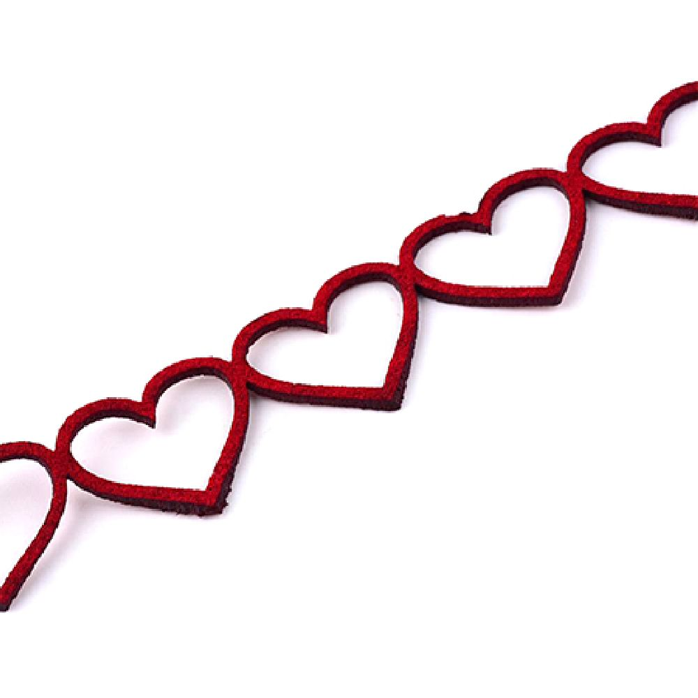 Velour ribbon hearts 18x1.5 mm red - 95 cm