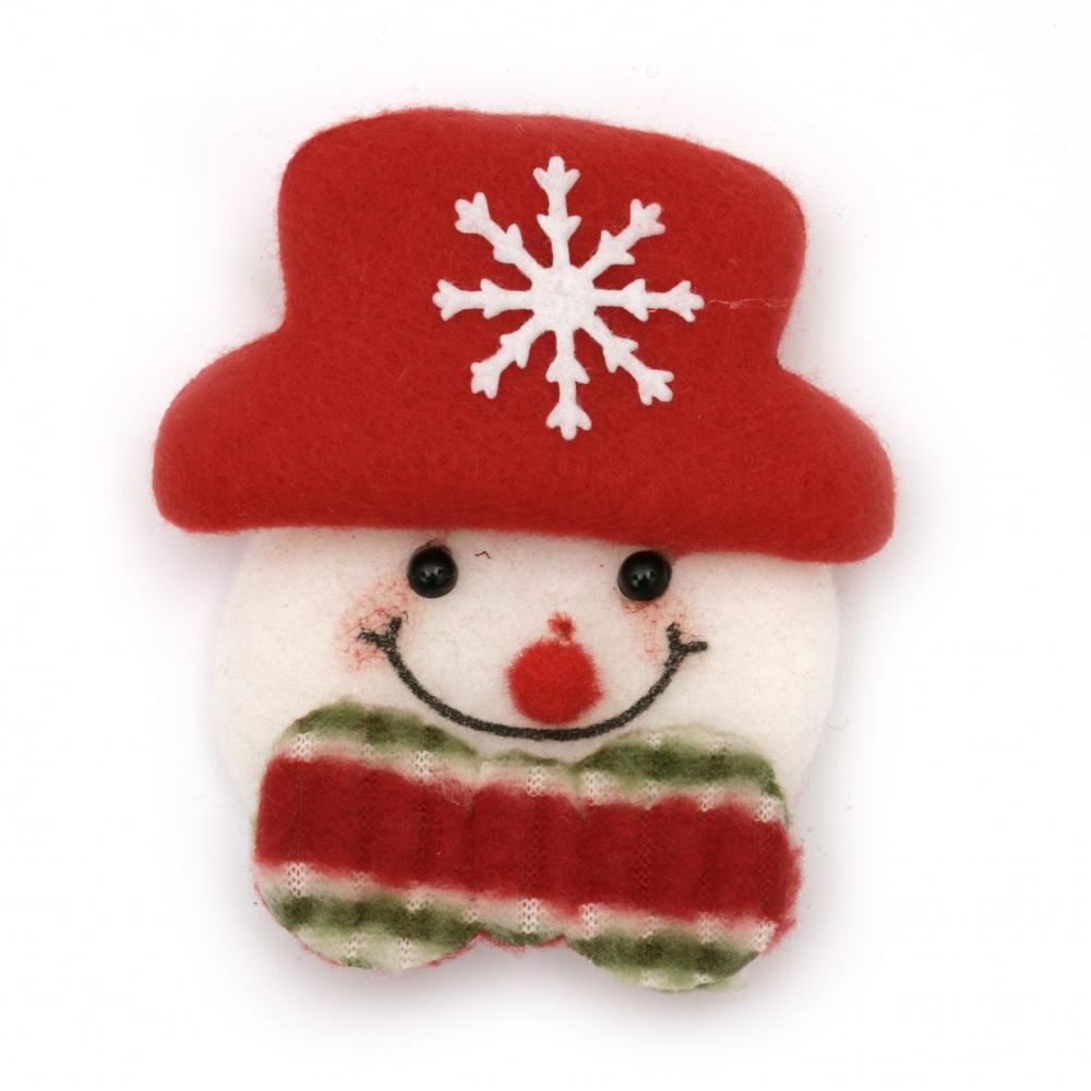 Textile figurine 70x80 mm snowman -2 pieces