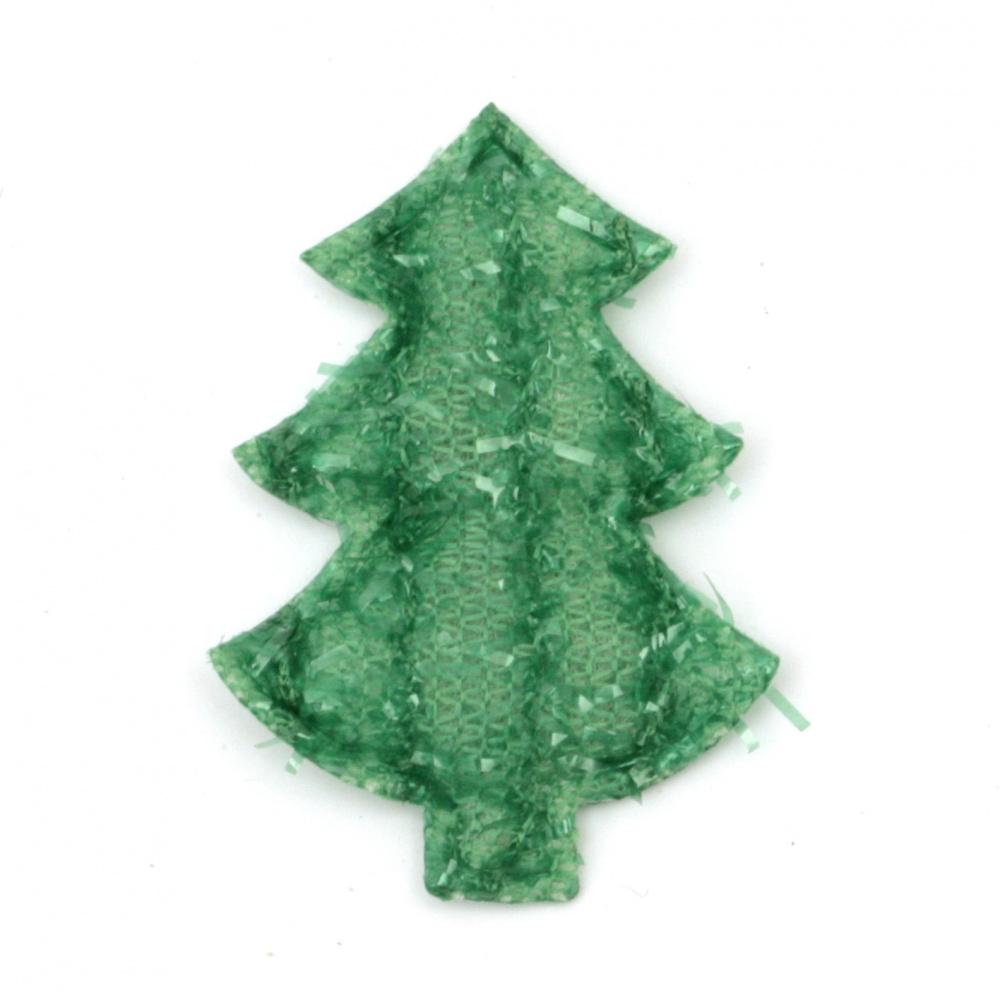 Figurină textilă 35x25 mm Pom de Crăciun cu cusătură -10 bucăți