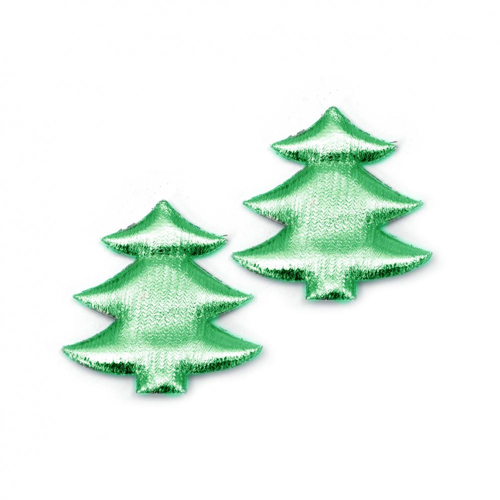 Χριστουγεννιάτικο δέντρο 35x30 mm, ύφασμα, πράσινο -10 τεμάχια